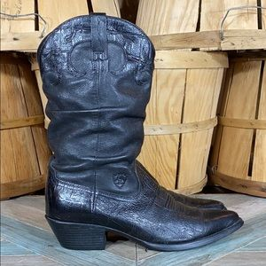Ariat Slouched Croc Embossed Leather Western Boots